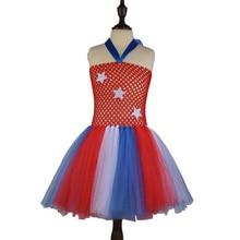 Baratos Meninas Estrelas Listrado Vestido Tutu de Tule Saia Vestidos Bonitos Dos Miúdos Roupas Fotografia Do Feriado 90 cm-140 cm
