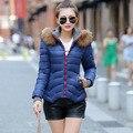 2015 Nova Mulher Marca Para Baixo Casacos de Inverno Wadded Fino Curto estilo Casacos De Pele Gola Outerwear Fêmea Neve Quente Parkas Mais tamanho