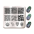 BORN PRETTY 6*6cm Square Nail Art Stamp Template Animal Design Skull Manicure Nail Stamping Image Plate BP-X13
