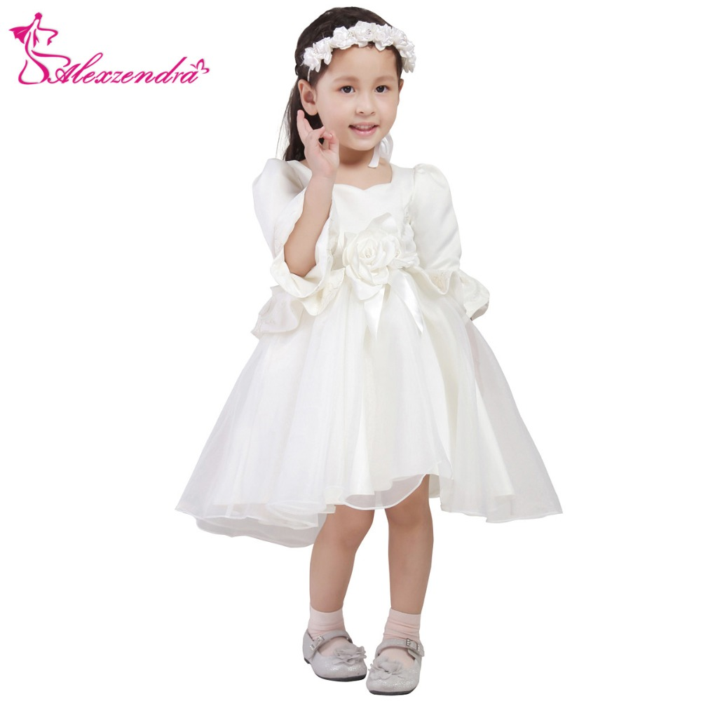 Alexzendra White Ivory Tea Length Satin   Flower     Girls     Dresses   with Sleeves   Girls   First Communion   Dress   Princess   Girl     Dress