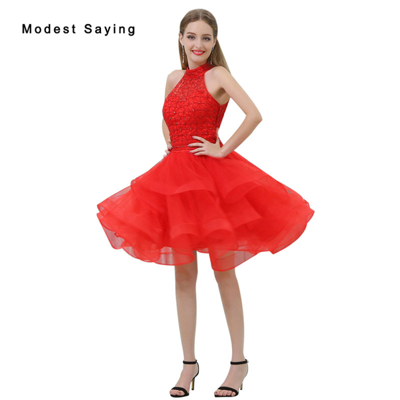Sexy Red Ball Gown Tiered Short Cocktail Dresses 2017 with Rhinestone Girls Mini Homecoming Prom Gowns vestidos de coctel B028