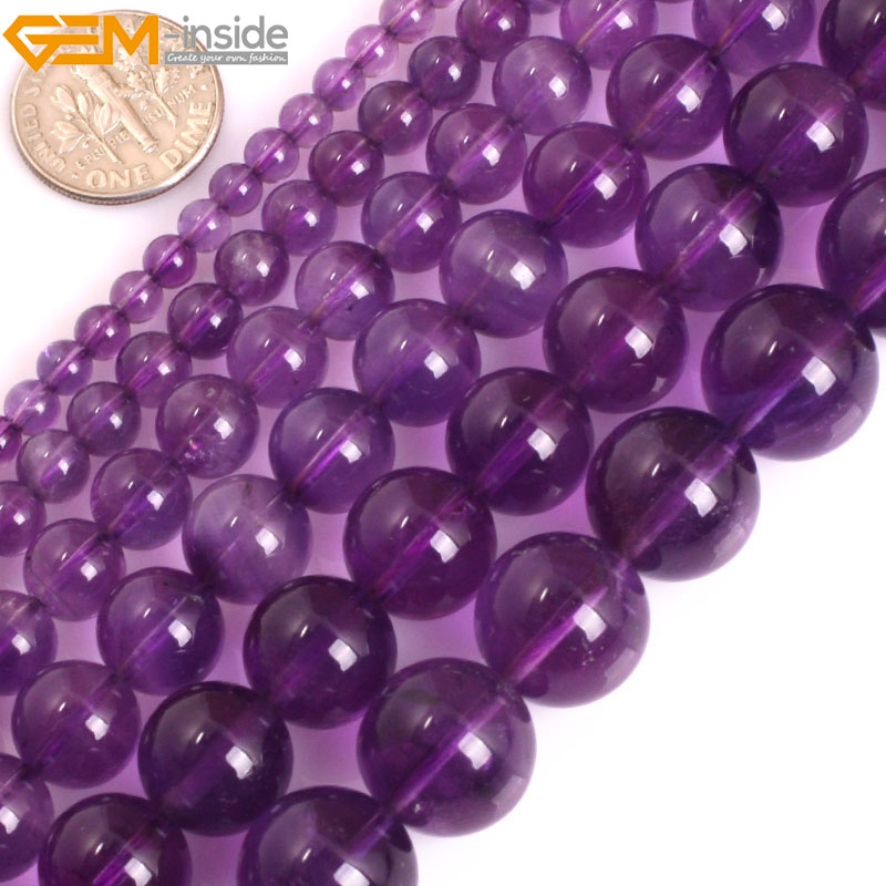Gem-inside AAA Grade Genuine Natural Round Smooth Light Purple Amethysts. Precious Stone Beads for Jewelry Making DIY Jewellery