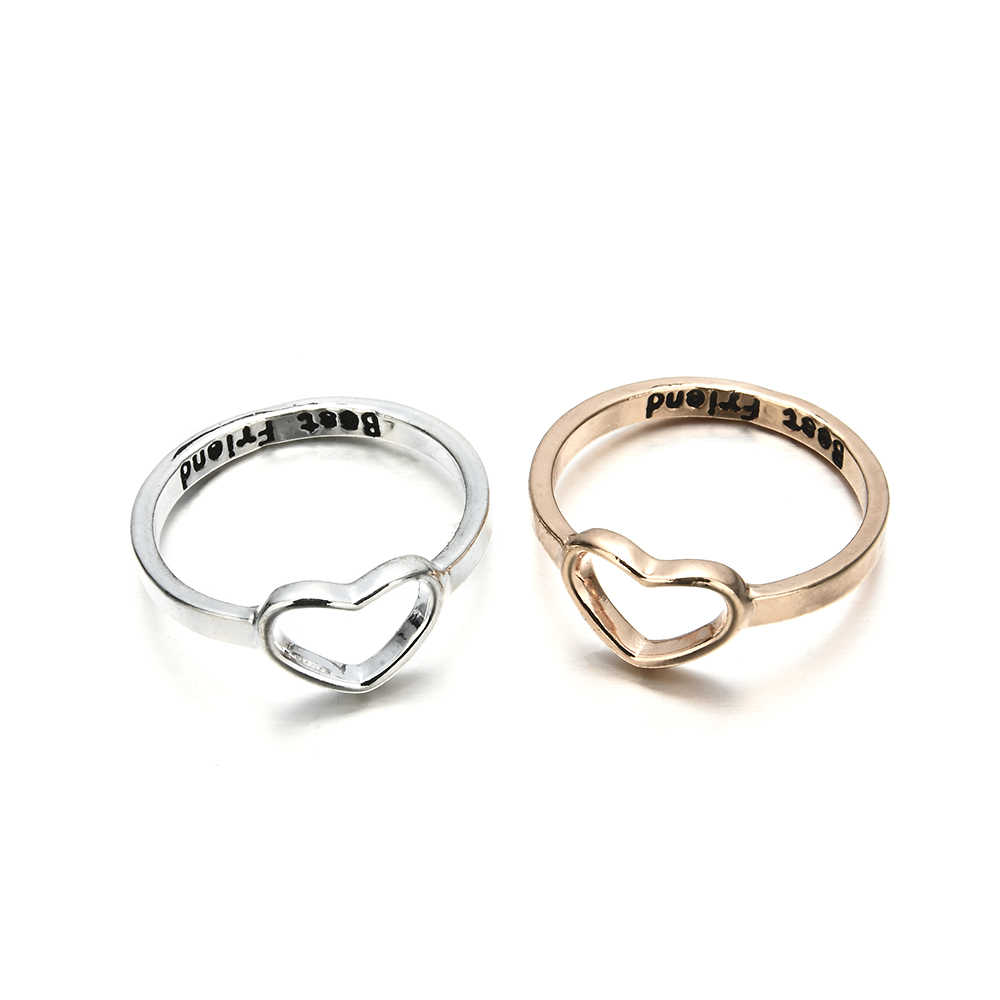 Fashion Women Girl Best Friend Rose Gold Color Heart Shaped Wedding Ring For Women Friendship Metal Rings Jewelry Gift