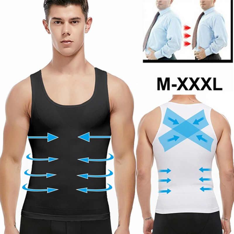 Mens Afslanken Body Shaper Shapewear Abs Buik Compressie Shirt Te Verbergen Gynaecomastie Moobs Workout Tank Tops Hemdjes