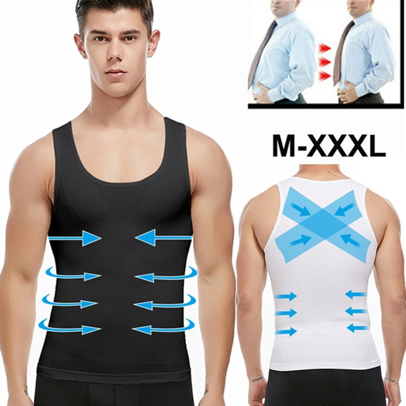 Mens Slimming Body Shaper Shapewear Abs Abdomen Compression Shirt to Hide Gynecomastia Moobs Workout Tank Tops Undershirts image