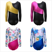 En bit Rainbow Långärmade Biketard Athletic Leotard Dansklänning Ballett Gymnastik Leotard Acrobatics Training Leotard