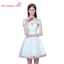 new arrive short ivory lace design party prom princess dresses ball gown  sexy boat neck dress 8a39b3c3df3e
