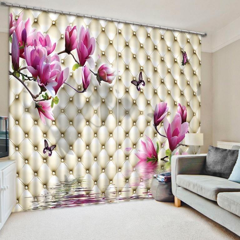 3D květinové závěsy Ložní prádlo Obývací pokoj nebo Hotel Záclony Cortians Silné sluneční clony Okenní závěsy Zakázková velikost k dispozici