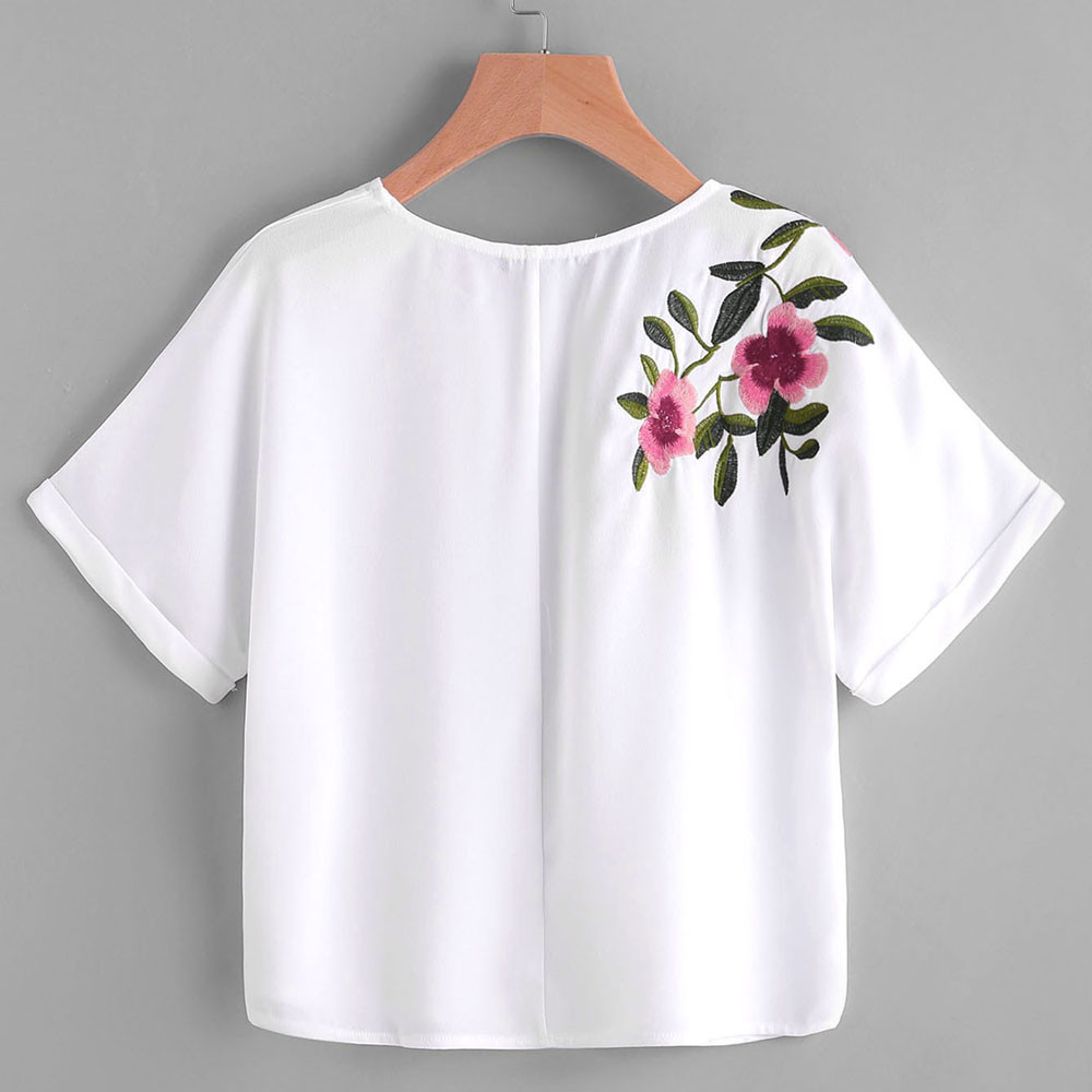 Aliexpress buy women flower embroidery shirt short