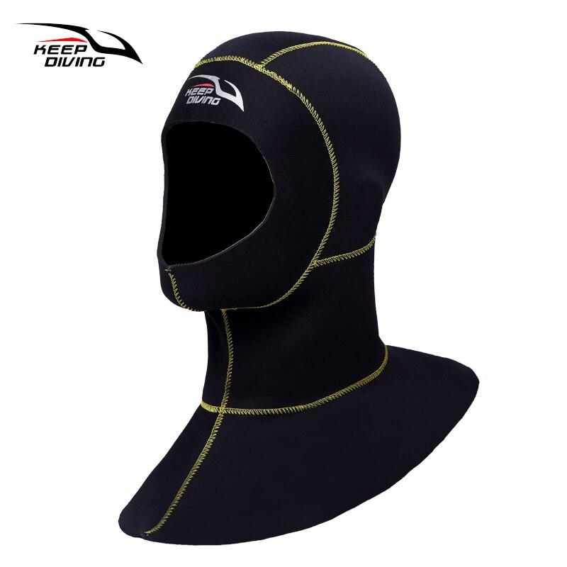 ΚΡΑΤΗΣΤΕ ΚΑΤΑΔΥΣΗ 3mm νεροτσουλήθρας με καταδυτικό καπό με εξοπλισμό για κολύμβηση ώμου Καπέλο καπέλου χειμώνα κολύμπι ζεστό μαντήλι σφουγγαρίσματος