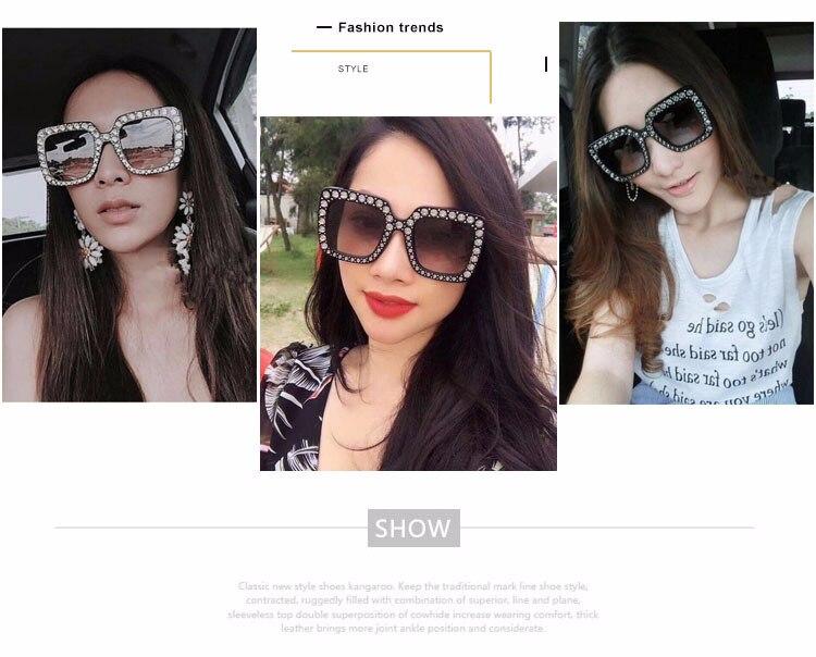 ef88687002e Crystal Sunglasses Italy Brand Designer Women Diamond Sun glasses Luxury Oversized  Square Female Retro Stylish Big Frame Shades