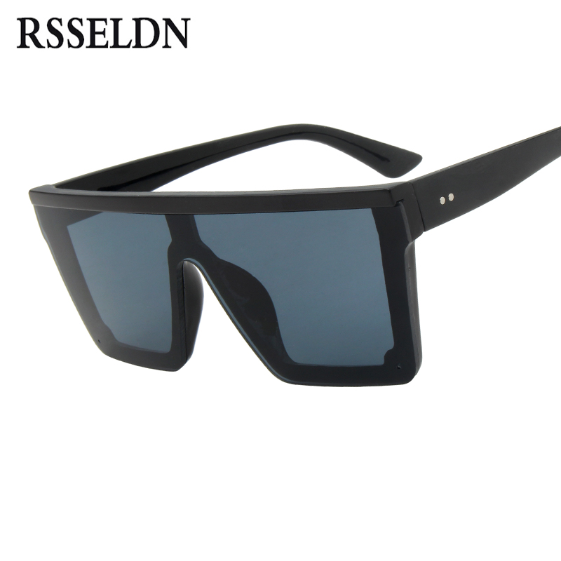 5573d3893d0e RSSELDN Oversized Square Sunglasses Men Women Flat Top Fashion One Piece  Lens Sun Glasses for Women Brand 2019 Shades Mirror