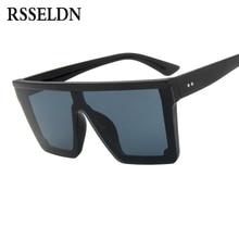 RSSELDN Enormes óculos de Sol Quadrados Homens Mulheres Flat Top Fashion de  Uma Peça Espelho Lente Óculos de Sol para As Mulhere. 71fa488f77