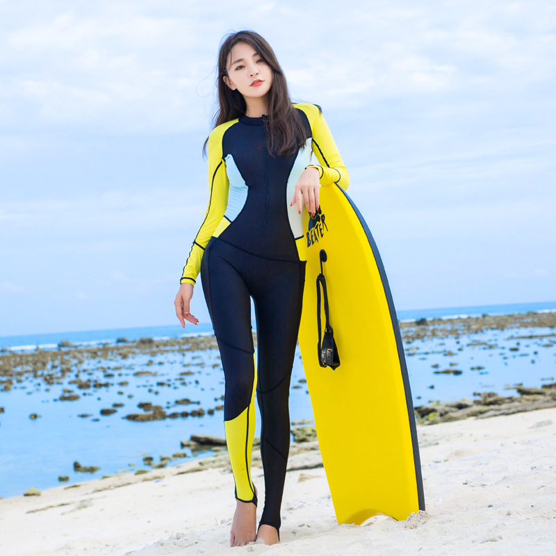 hisea 0.5mm Lycra Women Diving Suits Bodysuits one piece Wetsuits Scuba Snorkeling Equipment Long Sleeves Surfing Rash Guards