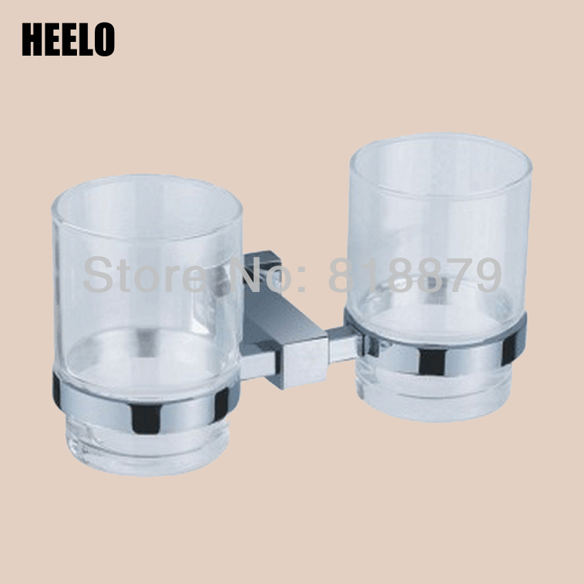 Bathroom hardware accessories brass double cup tumbler holder square lovers cup batroom golden champagne porcelain double cup holder bathroom double cup rack holder hardware bath sets bathroom accessories