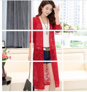 30pcs/lot fedex fast Kimono Cardigan Women Long Lace WomenTops And Blouses Plus Size 5XL Long Sleeve Summer lace blouse