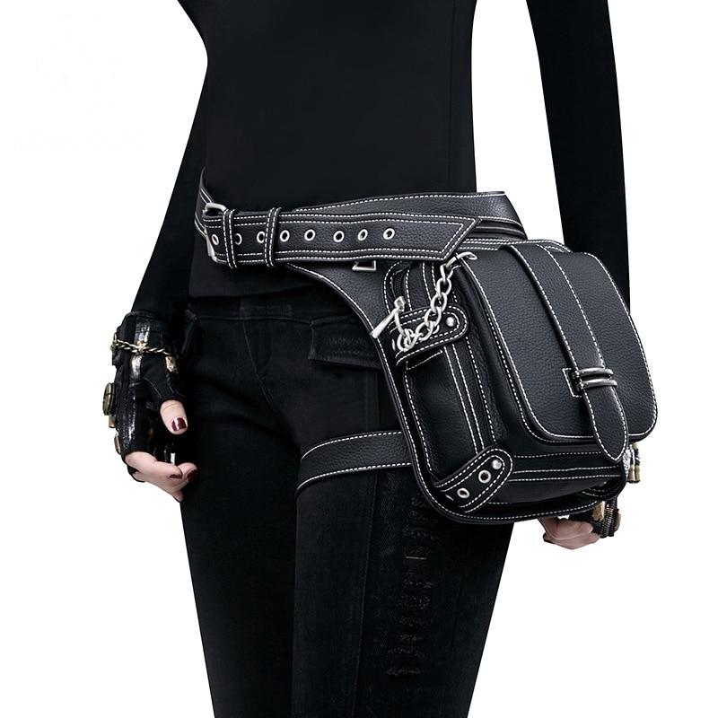 2019 Vintage noir Steampunk taille en cuir sac femme moteur jambe sac à bandoulière coque de téléphone titulaire Messenger sac cuisse sac