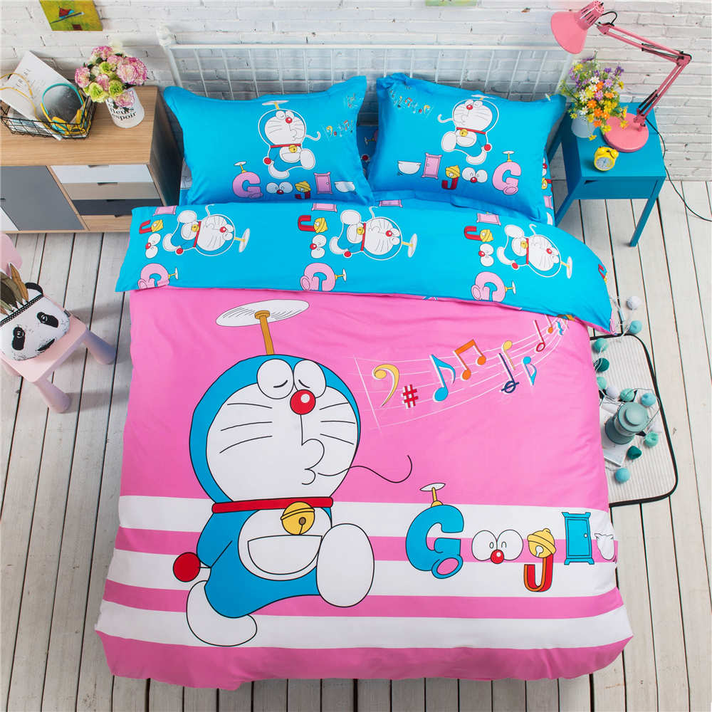 Baby bed quilt size - Doraemon Cartoon Bedding Set Bedspreads Girls Baby Bed Duvet Covers Cotton 500tc Woven Twin Full Queen King Size Pink Blue Color