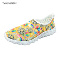 TWOHEARTSGIRLS Cute Kitty Cat Printing Mesh Shoes Soft Comfort Breathable Summer Women Walking Shoes Casual Classic