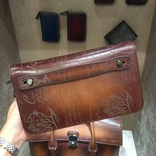 TERSE_Mens Clutch bag Top leather Handmade large wallet vintage engraving large capacity 2 colors document busines clutch bag