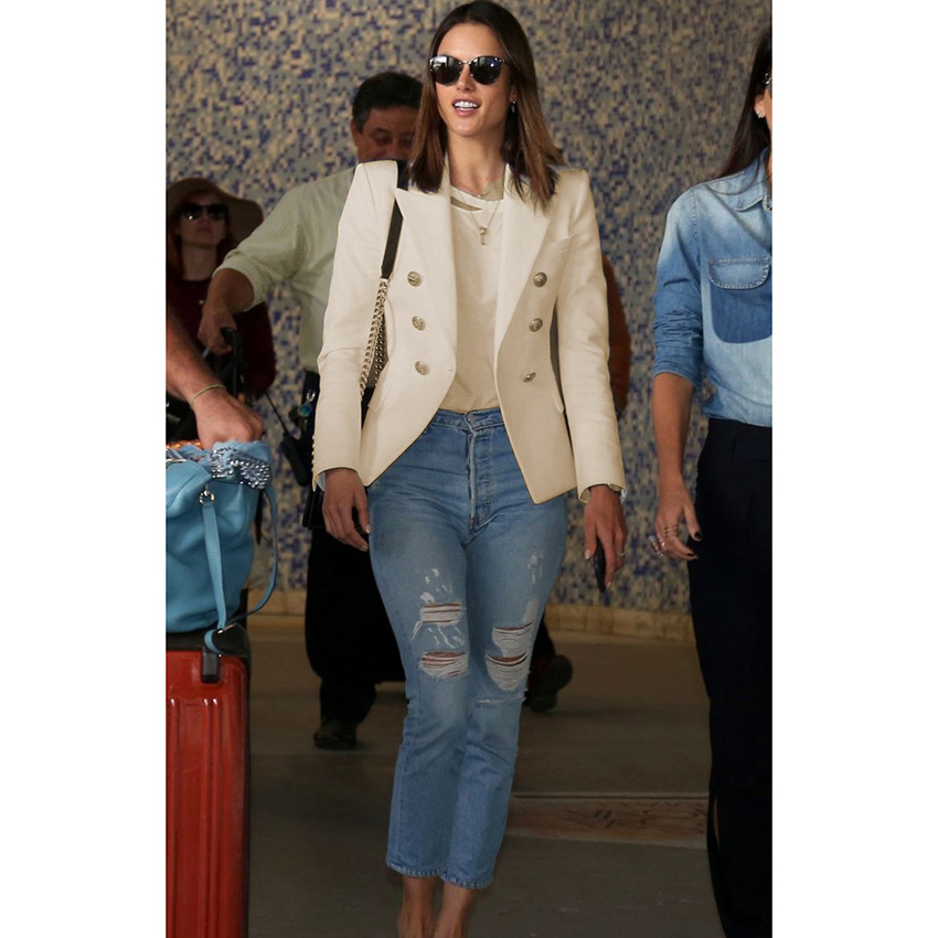 women blazers 2018 high quality star coat double-breasted small suit white blazer Cotton Office Lady Price $99.20