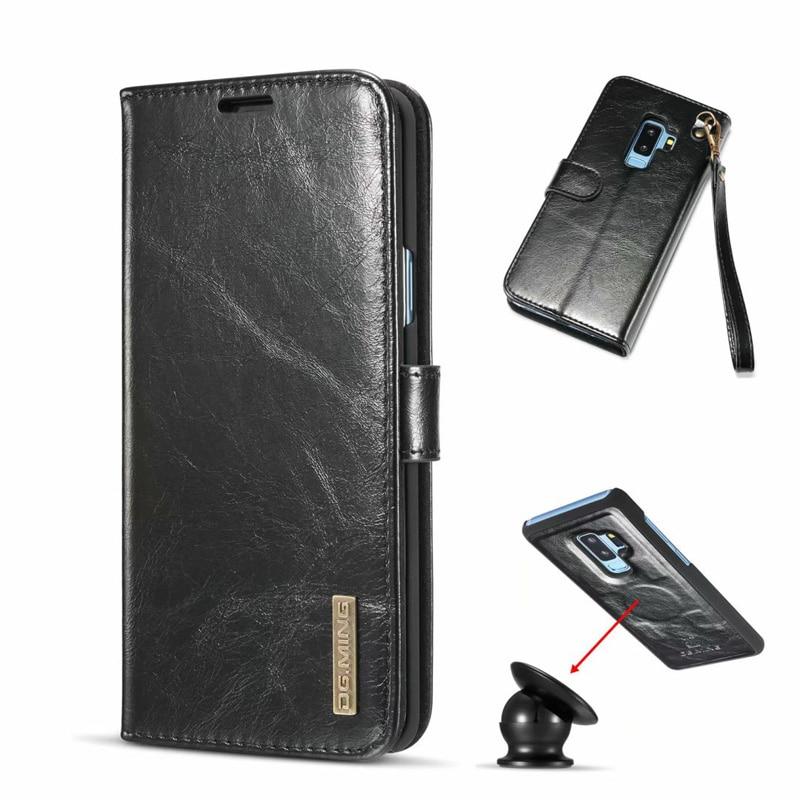 For Samsung S9 Plus Case Retro Magnet Genuine Leather ...
