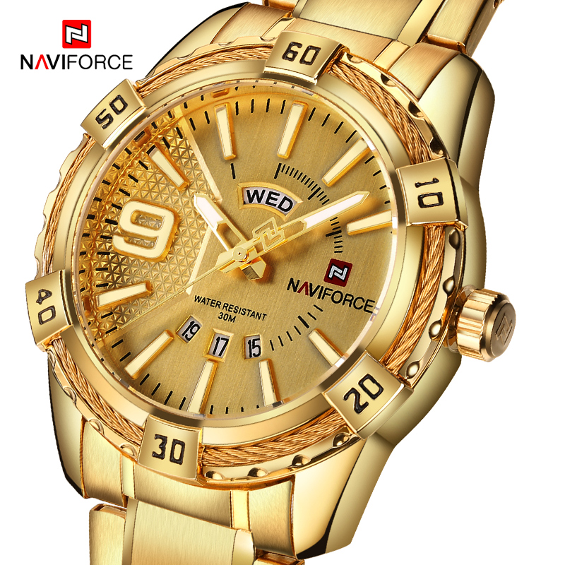 NAVIFORCE Men's Creative Full Steel Quartz Wristwatches Fashion Luxury Top Brand Watch Men Sports Watches Male Relogio Masculino men fashion quartz watch mans full steel sports watches top brand luxury cuena relogio masculino wristwatches 6801g clock