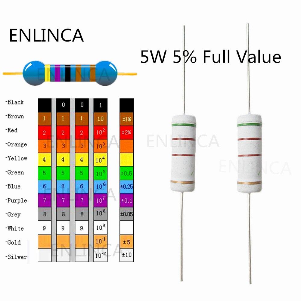 10 шт./лот, 0,1r ~ 910K 5 Вт 20R 22R 27R 30R 33R 39R 20 22 27 30 33 39 Ом, 5% металлический пленочный резистор, цветное кольцо, сопротивление 5 Вт