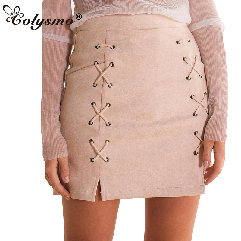 Colysmo Hoge Taille Rok Dames Suede Rok Herfst Winter Rokken Womens Lace Up Mini Kunstleer Rok Pencil Rokken Saia Nieuw