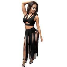 New 2017 Summer Women Two Piece Dress Sexy Tassel Midriff Tank Skater Party  Maxi Dress 5fa85a4c038c