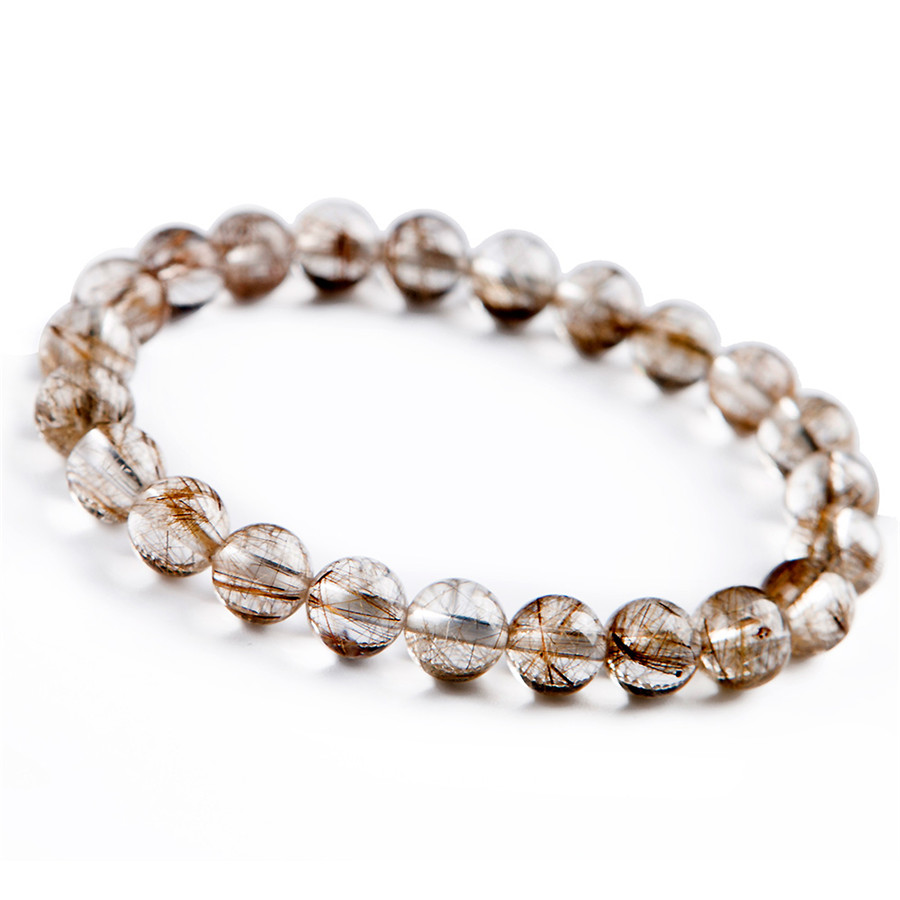 7mm Genuine Brazil Natural Silver Rutilated Quartz Crystal Round Bead Bracelet7mm Genuine Brazil Natural Silver Rutilated Quartz Crystal Round Bead Bracelet
