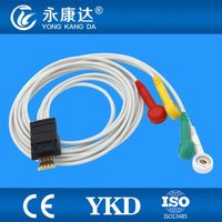 2pcs/lot Compatible Schiller MT 101 Holter ECG cable, 4leads, IEC ,Snap free shipping