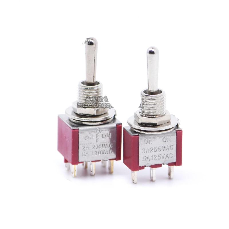 Wechselstrom Kippschalter 2 Positionen Blau 10pcs MTS-202 6-Pin DPDT ON-ON Mini Elektronik & Messtechnik