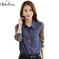 Denim Style Women Blue Shirt Plus Size Striped Patchwork Women Casual Blouse Elegant Turn Down Collar