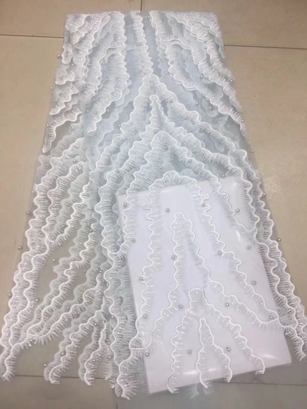 New Nigerian Lace Fabric 2018 High Quality tulle Lace Fabric Beautiful beads Lace For African Wedding Dress