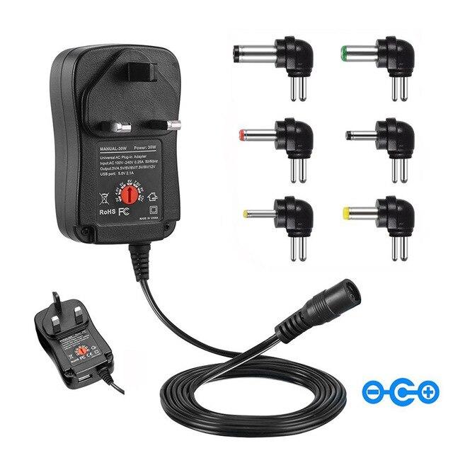 3 V 12 V Sạc Thông Minh 30W Đa Năng AC/DC Adapter Nguồn AC 110 240V Với 6 Adapter Và Cổng USB 5V 2.1 US/EU/Phích Cắm UK