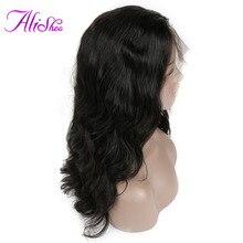 Alishes Tubuh Gelombang Renda Depan Wig Rambut Manusia Untuk Wanita Pra-Dipetik Brasil Remy Rambut Wig Rambut Bayi 130% Kepadatan Alami Hitam
