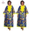 BRW Al Por Mayor vestidos de túnica de lana para mujer tradicional africana Bazin Riche africano Largo Dashiki Africano Vestidos Estampados WY175
