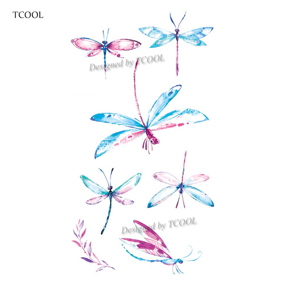 HXMAN Dragonfly Women Temporary Tattoo Sticker Tattoos For Men Fashion Body Art Kids Children Hand Fake Tatoo 10.5X6cm A-211