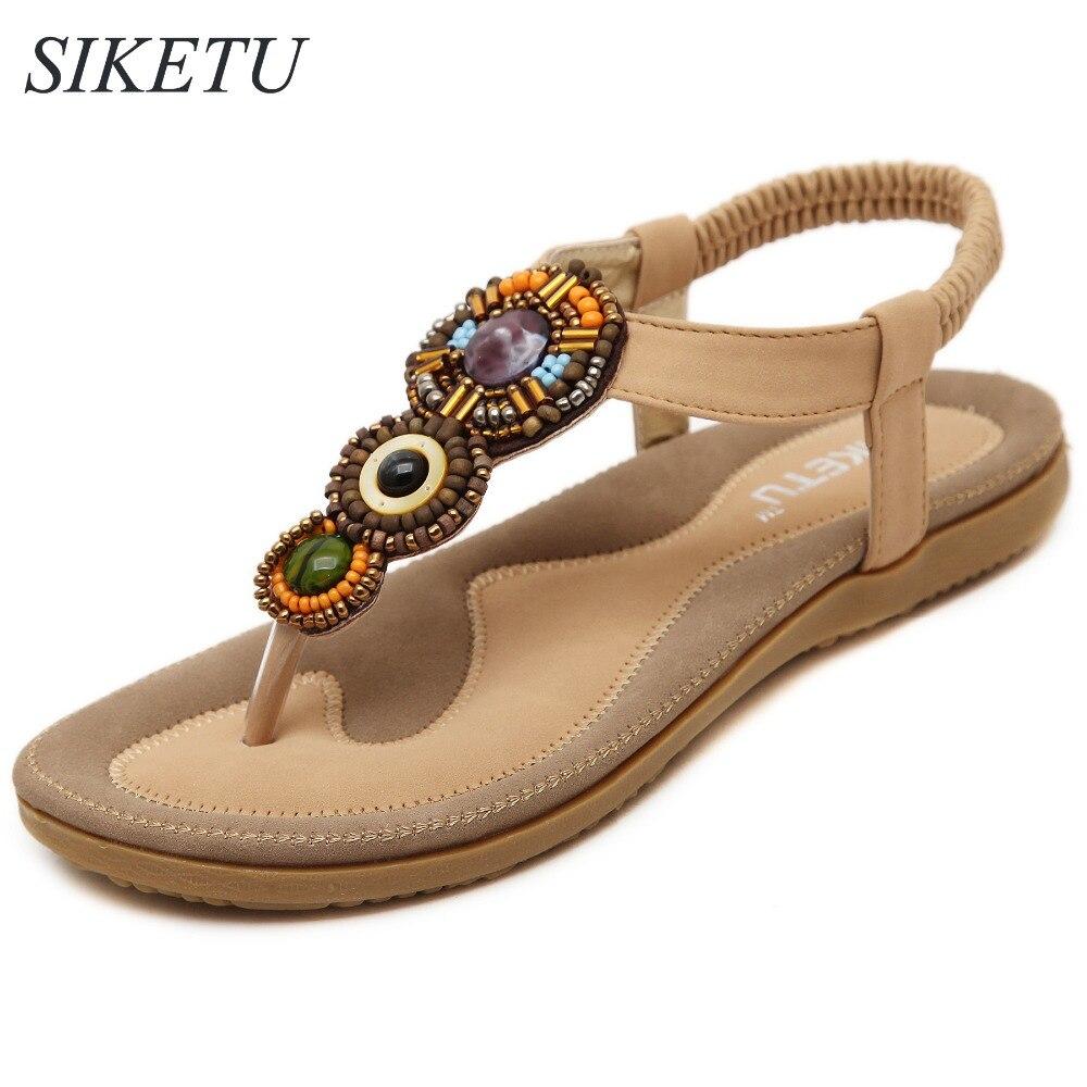 Black sandals rhinestones - Siketu Us5 10 Retro Summer Style Women S Flip Flops Ladies Soft Sandals Rhinestone Rome Shoes Woman Black Beige