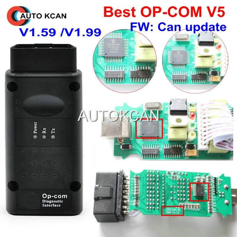 Hot Sale V5 PCB FW V1.59 ou FW V1.99 OP com op com v1.99 com PIC18F458 CAN BUS OBD2 OP-COM v5 OPCOM ferramenta de diagnóstico-