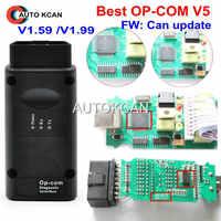 Offre spéciale V5 PCB FW V1.59 ou FW V1.99 OP COM op v1.99 avec PIC18F458 peut BUS OBD2 OP-COM V5 OPCOM outil de diagnostic