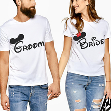 Creative Letter Print Groom Bride Lovers Tee T Shirt Printing Couple Clothes Lovers Tee Shirt Femme Summer Casual O-Neck Tops letter print matching couple tee