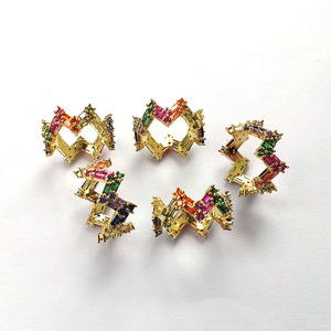 5Pcs Colorful Rainbow CZ stack wave finger rings,Trendy Sparkling Zircon Stone Micro Paved for party wedding jewelry gift R188