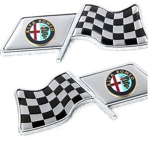 100th Anniversary Checkered Crossed Flag for Fender Trunk Emblem Badge Sticker