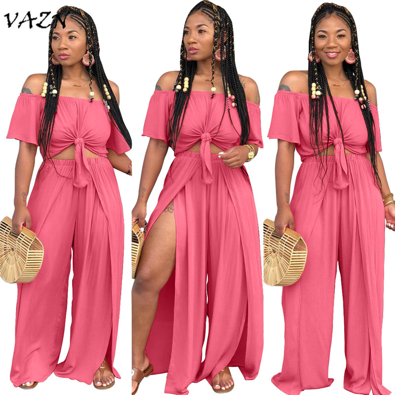 Suits & Sets Have An Inquiring Mind Vazn 2018 New Arrival High Fashion Sexy 2 Piece Set Women Solid Slash Neck Half Sleeve Bow Long Pant Elegant Loose Set A8034 Commodities Are Available Without Restriction