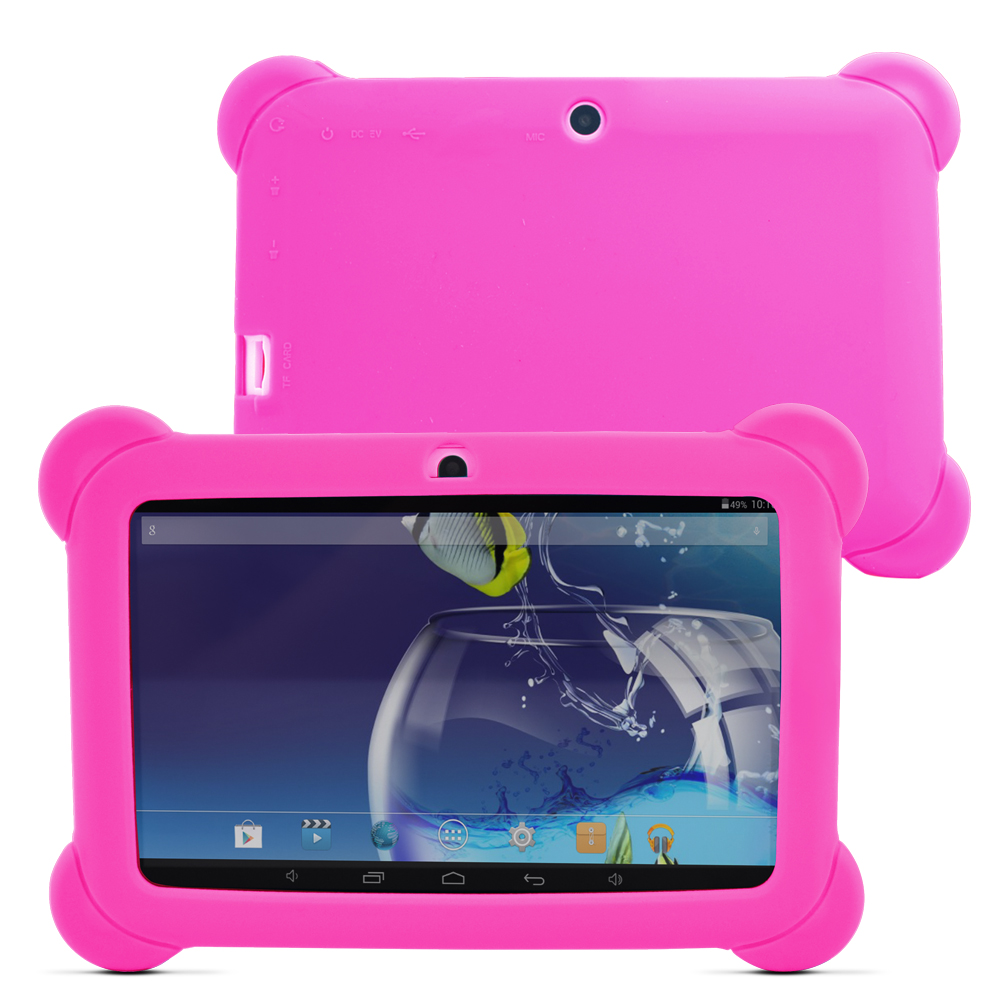 Yuntab 7 tommers Q88 Allwinner A33 Quad Core 512 MB / 8 GB Android 4.4 Barn Tablet PC Bluetooth Dual kamera med silikonetui