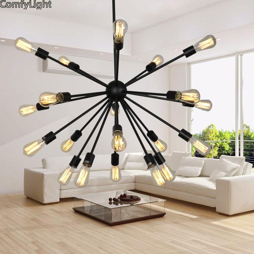 Chandeliers light lamp holder bulb socket Restaurant satellite industry classic IRON LOFT pendant lamp vintage Furniture Center