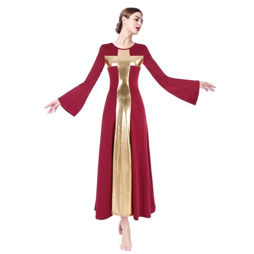 01a11754aad2 2019 New Women Flare Long Sleeve Dance Dress Costume Metallic Cross Liturgical  Praise Dress Mime Dance