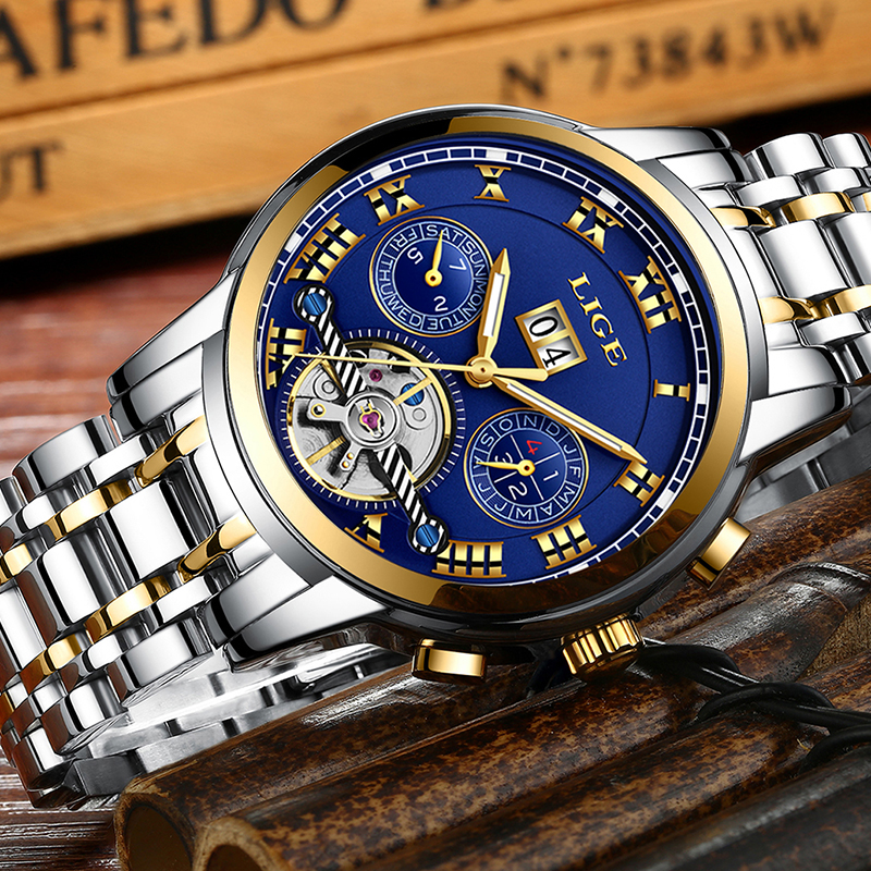 Relogio Masculino Mens Watches Top luxury brand LIGE Watch Men Automatic mechanical Wristwatch Military Sport Waterproof Clock-in Sports Watches from Watches    3